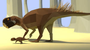Psittacosaurus In Low Poly