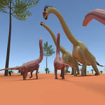 Sauropod Gullivers in Lilliput: Low Poly