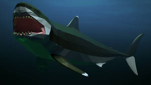 Megalodon In Low Poly
