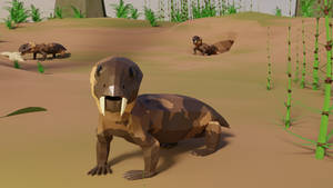 Diictodon In Low Poly