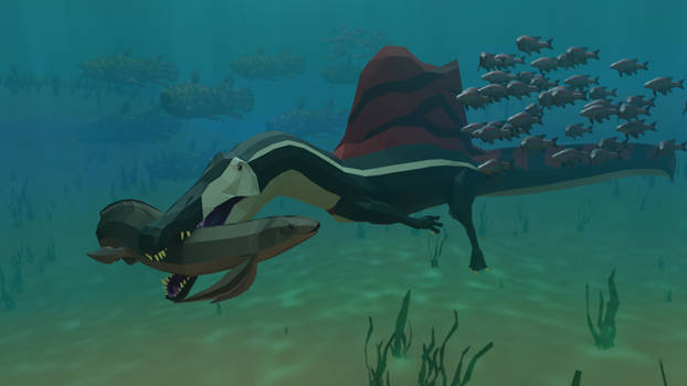 The River king: Low Poly Spinosaurus Scene