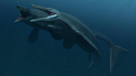 Tylosaurus fight: A Low poly scene