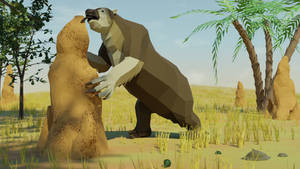 Megatherium In Low Poly