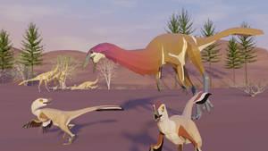 Gallimimus vs Velociraptor in Low poly