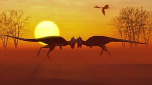 the duel: a low poly Pachycephalosaurus scene