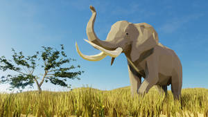 African Bush Elephant In Low Poly 2