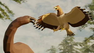 Haast eagle vs Moa in Low poly