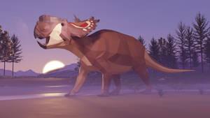 Revamped: Pachyrhinosaurus in Low Poly