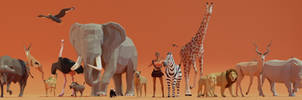 low poly Danielle and Friends : Safari edition