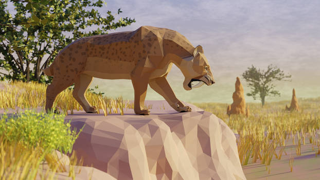 Smilodon In Low Poly