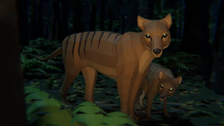 Thylacine In low Poly