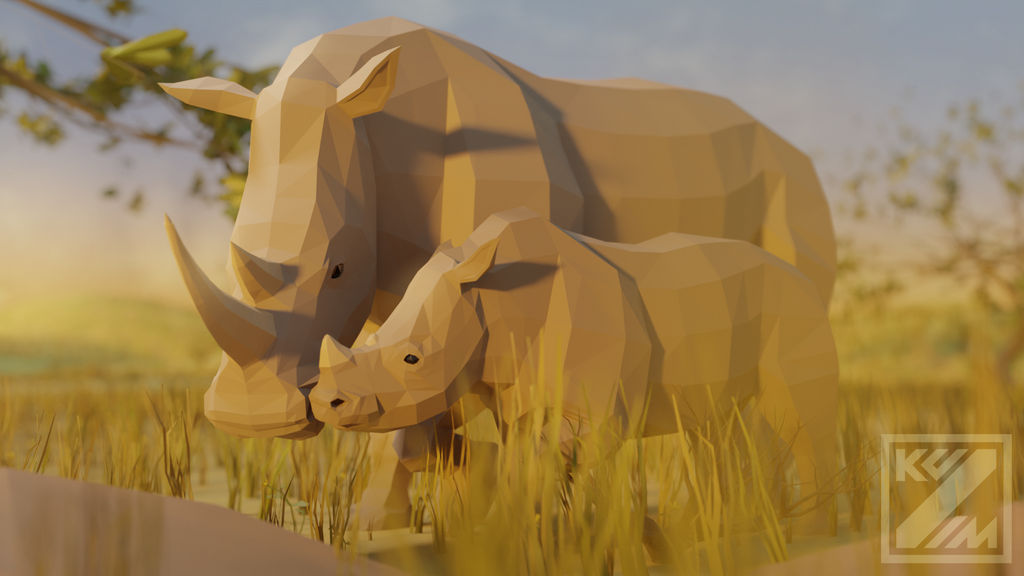 White Rhinoceros mother and calf In Low Poly