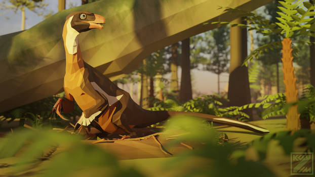 Revamped : Ornitholestes in Low Poly