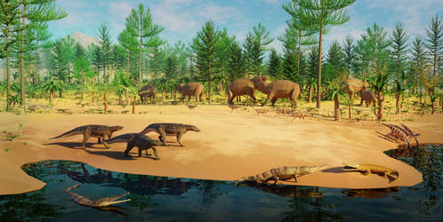 low poly Triassic Silesia community