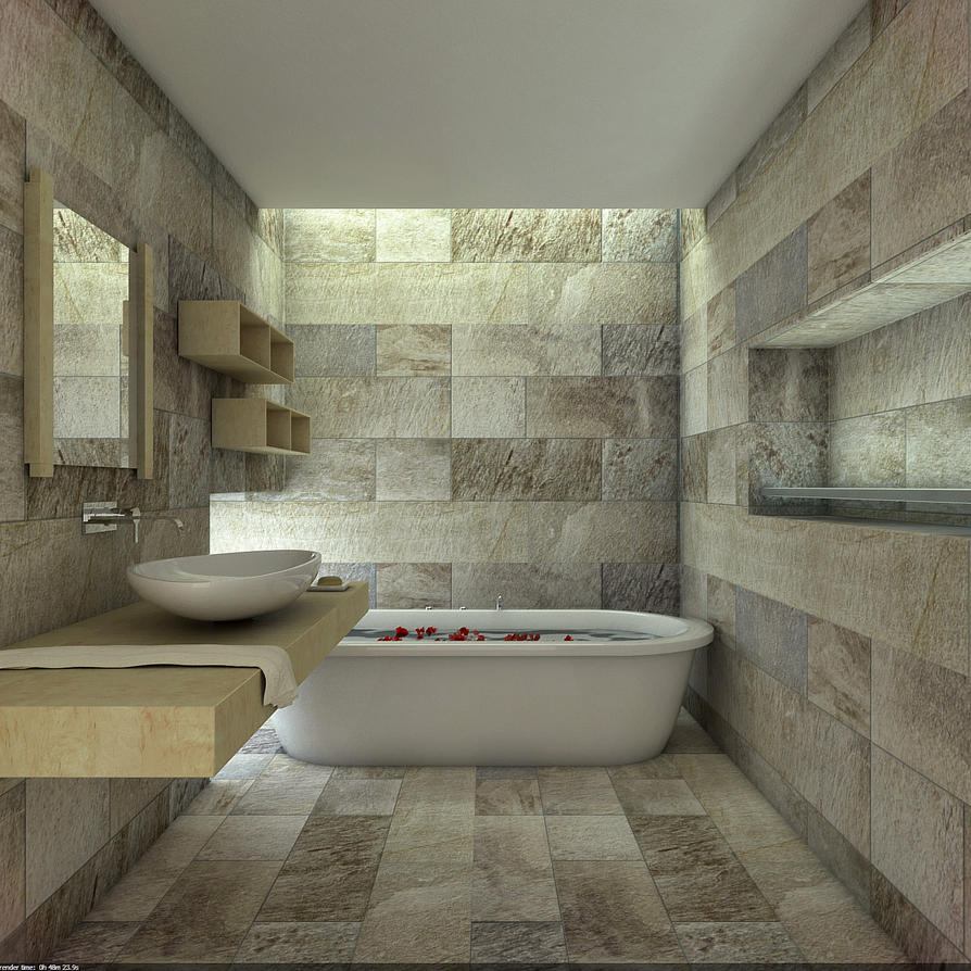 Natural Stone Bathroom by Overstone on DeviantArt