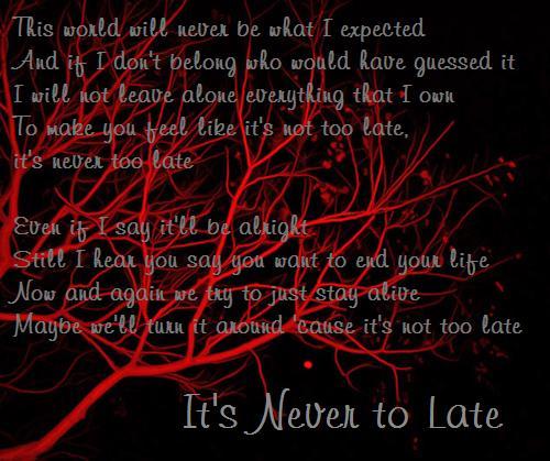 Three Days Grace-Never to Late by Zukofan11