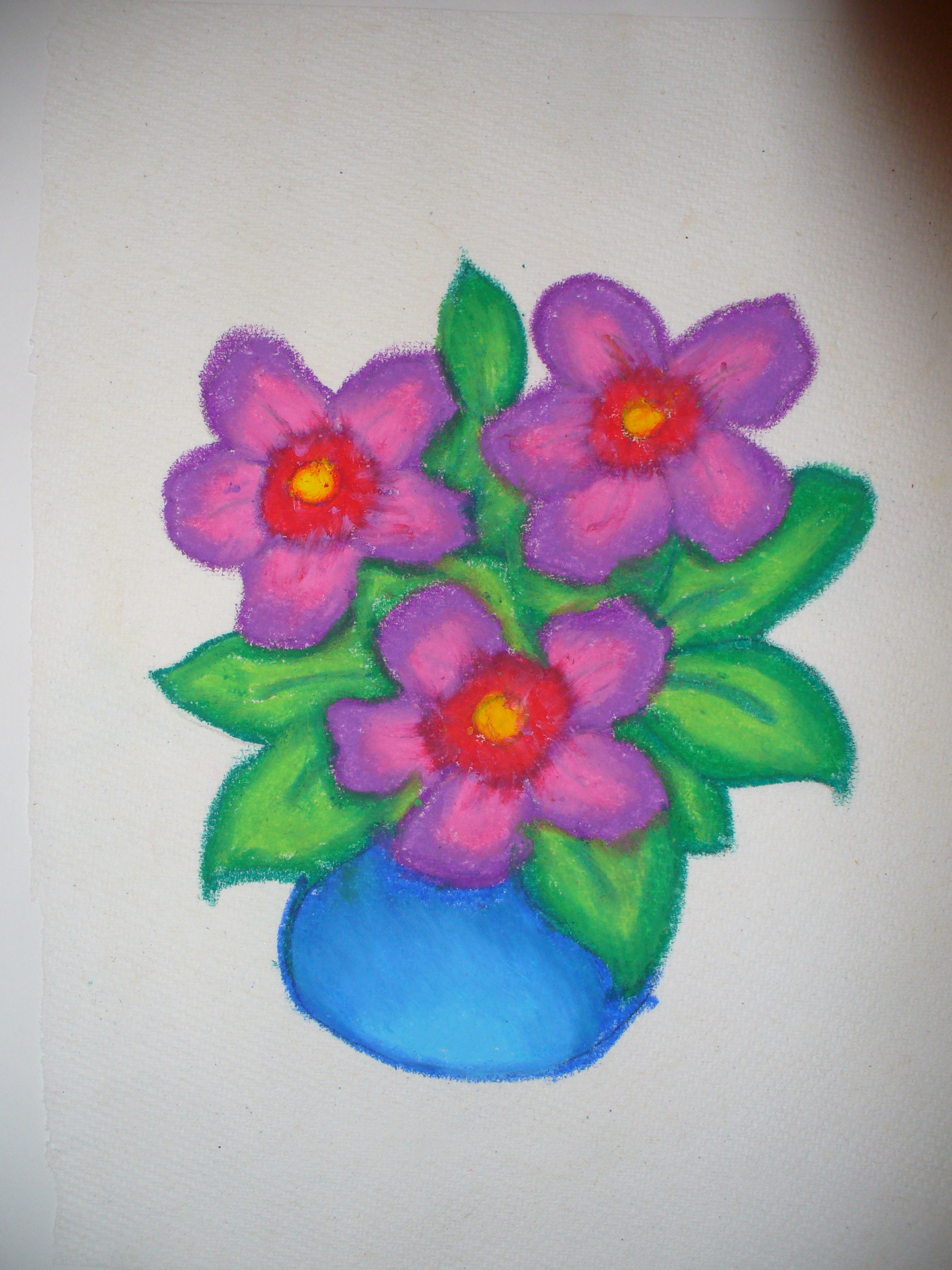 Oil Pastel Potted Flowers by Calia386 on deviantART