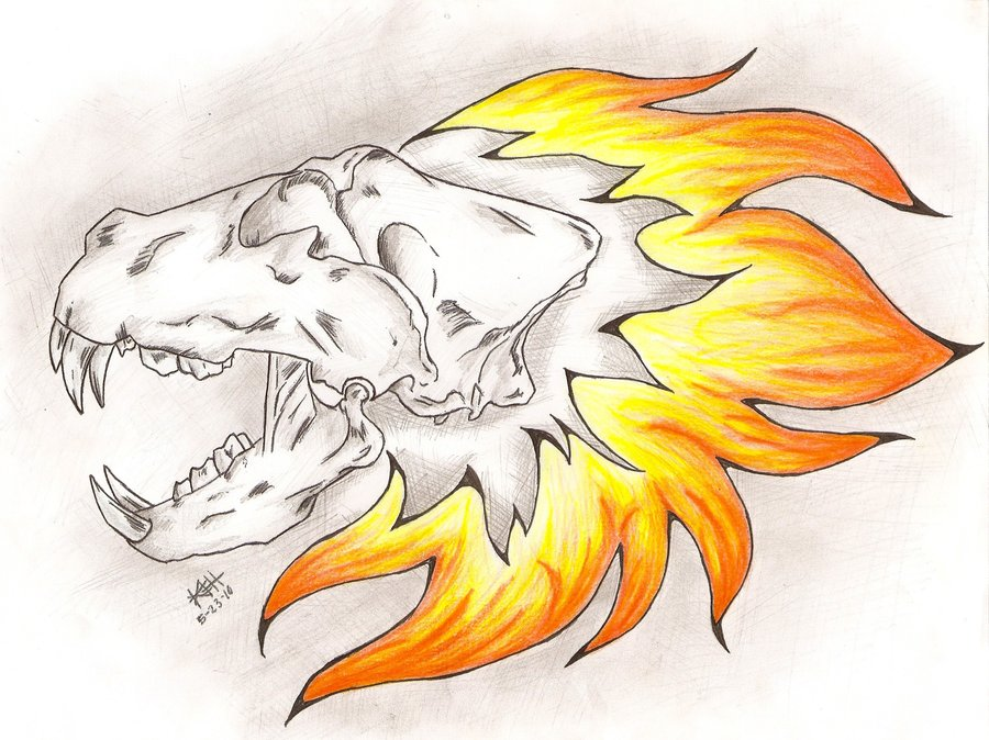 Lion Skull Tattoo - Coloured by Shadowic