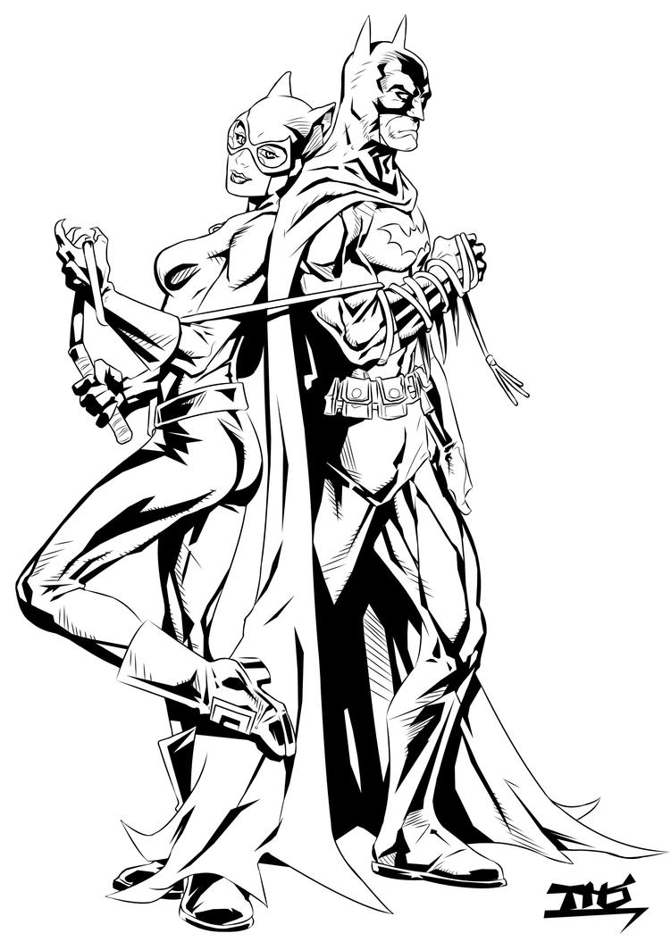 Batman and catwoman inks by tomasu815 on deviantart for Catwoman printable coloring pages