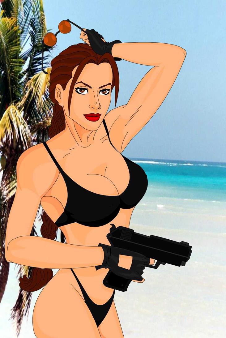 Lara Croft At The Beach by darthpinhead47