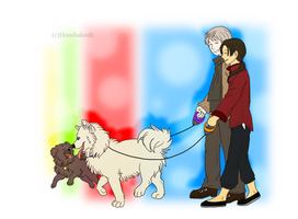 RoChu - Out for a walk with the dogs by Ouivon