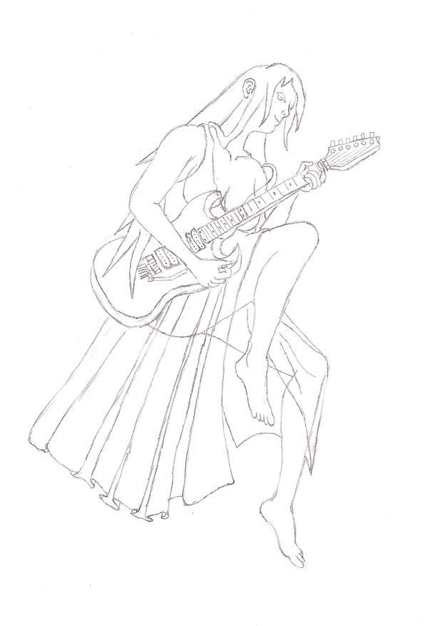 Guitar Pinup Girl Sketch By Metalviking On DeviantArt