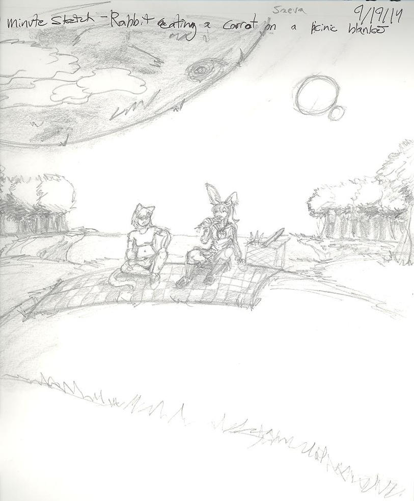 10 Min Sketch- Rabbit Eating Carrot by MrBagelbottom
