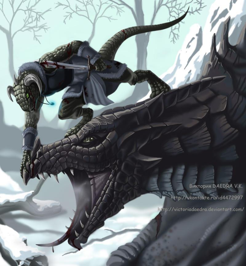 Skyrim: Dovahkiin and Dragon by VictoriaDAEDRA