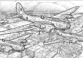 WW2 Bomber over Budapest by dczanik