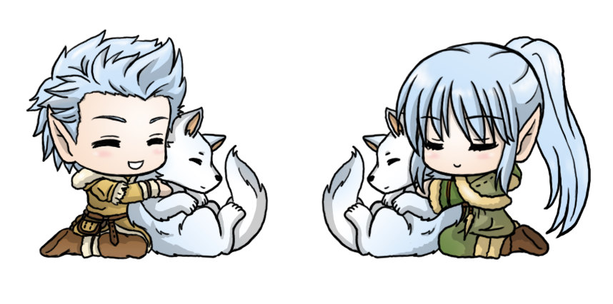 Sotw: Chibi Shea and Althea with Wolf by SilverHyena