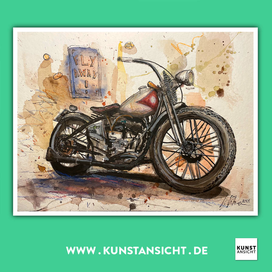 Kunstansicht Watercolor - Fly away! - Motorcycle