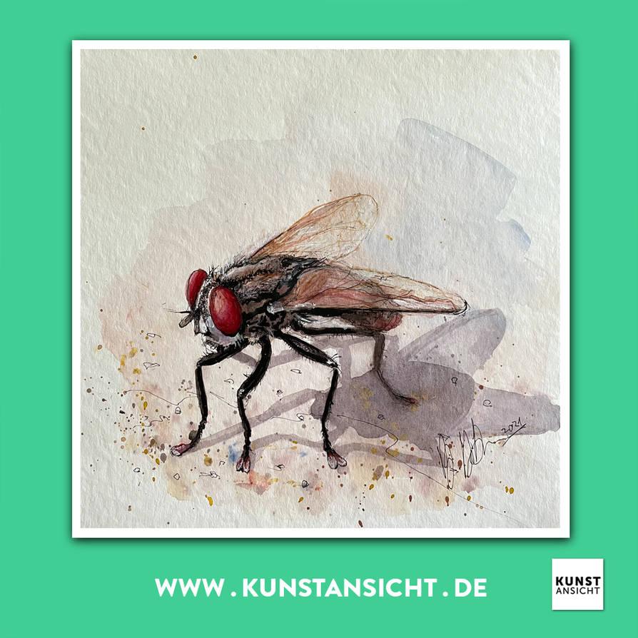Kunstansicht Watercolor Artwork Fliege