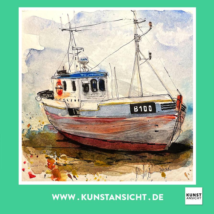 Watercolor old Boat, Kutter, Schiff, Fischerboot