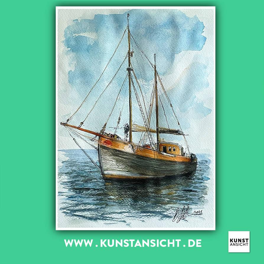 Kunstasicht Segelboot