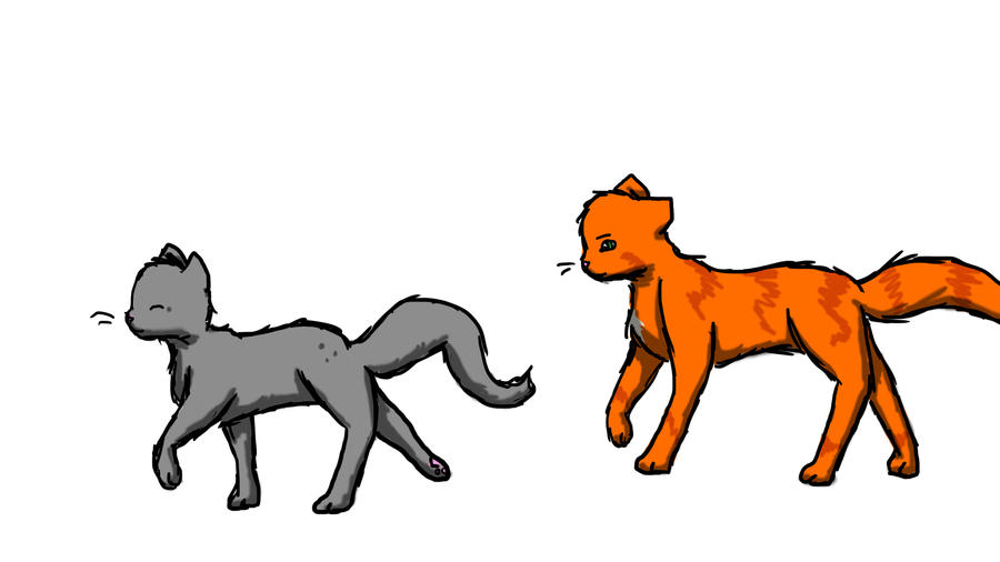Fireheart and Cinderpaw by xLoveandLightningxFireheart And Cinderpaw