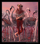 The flamingo man