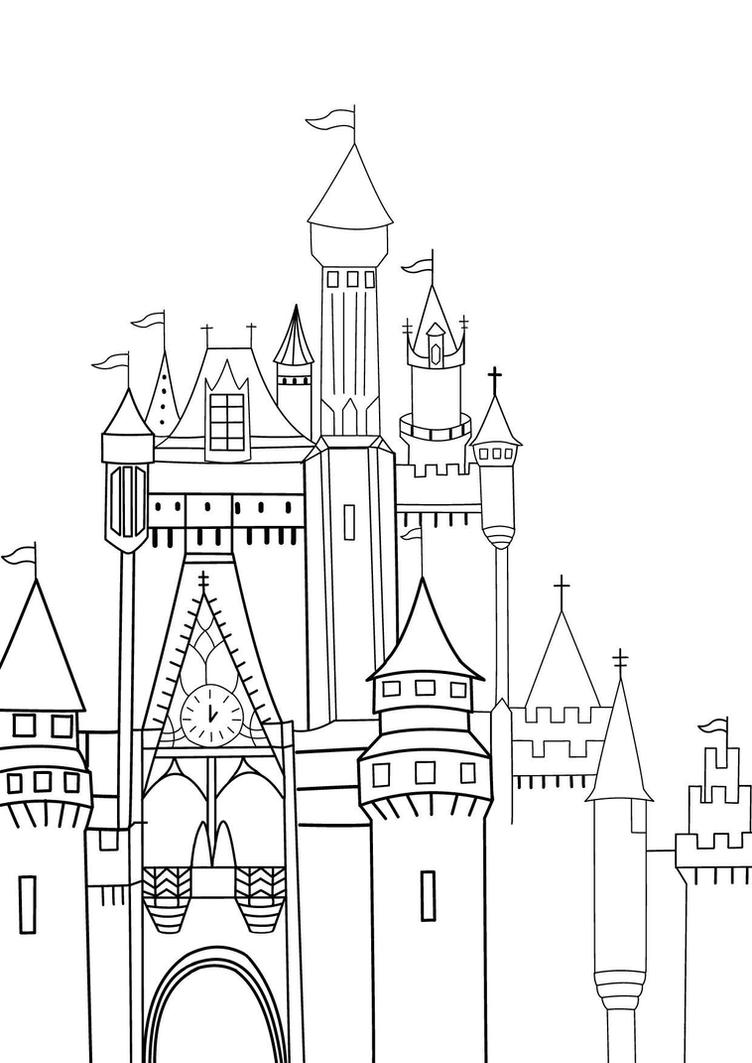 Disney castle sketch by rini2jessie on deviantart for Disney castle coloring pages