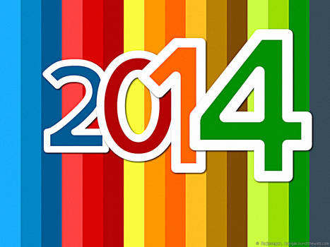 Happy New Year 2014 colorful background