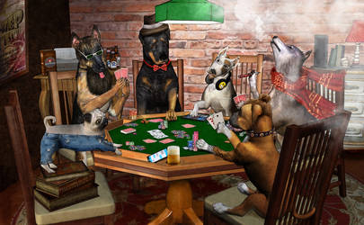 Hipster Dogs Playing Poker