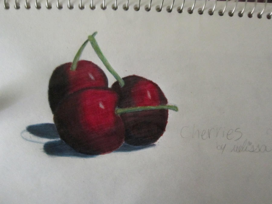 Realistic Cherries a gift for my watchers :D by OceanSkyViolet