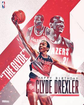 NBA - Clyde Drexler Birthday Graphic