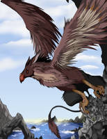 Gryphon on a cliff by VegaBone