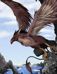 Gryphon on a cliff