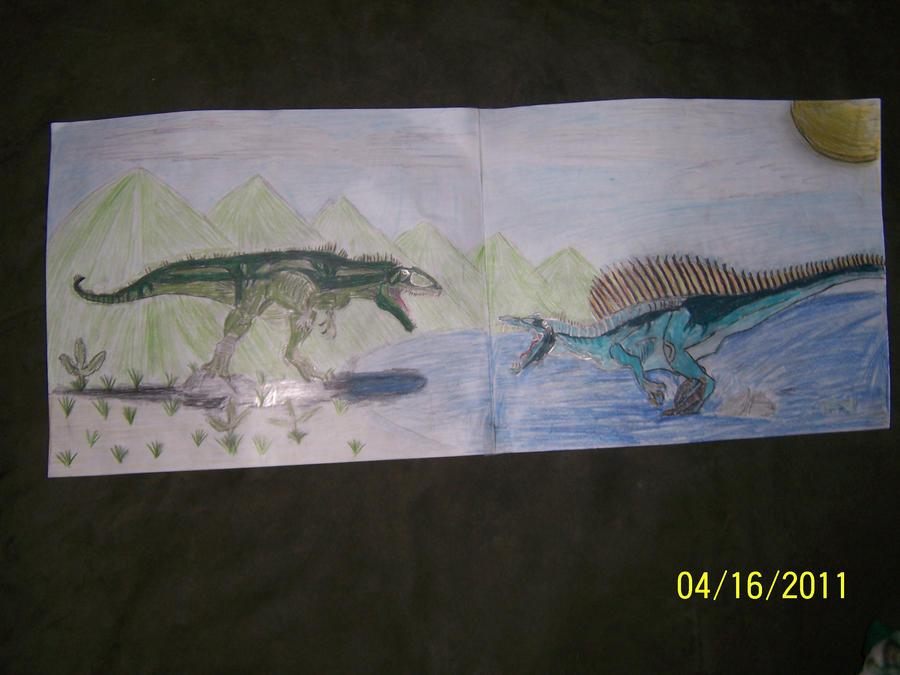 Giganotosaurus vs Spinosaurus by krayt-zilldar on DeviantArt