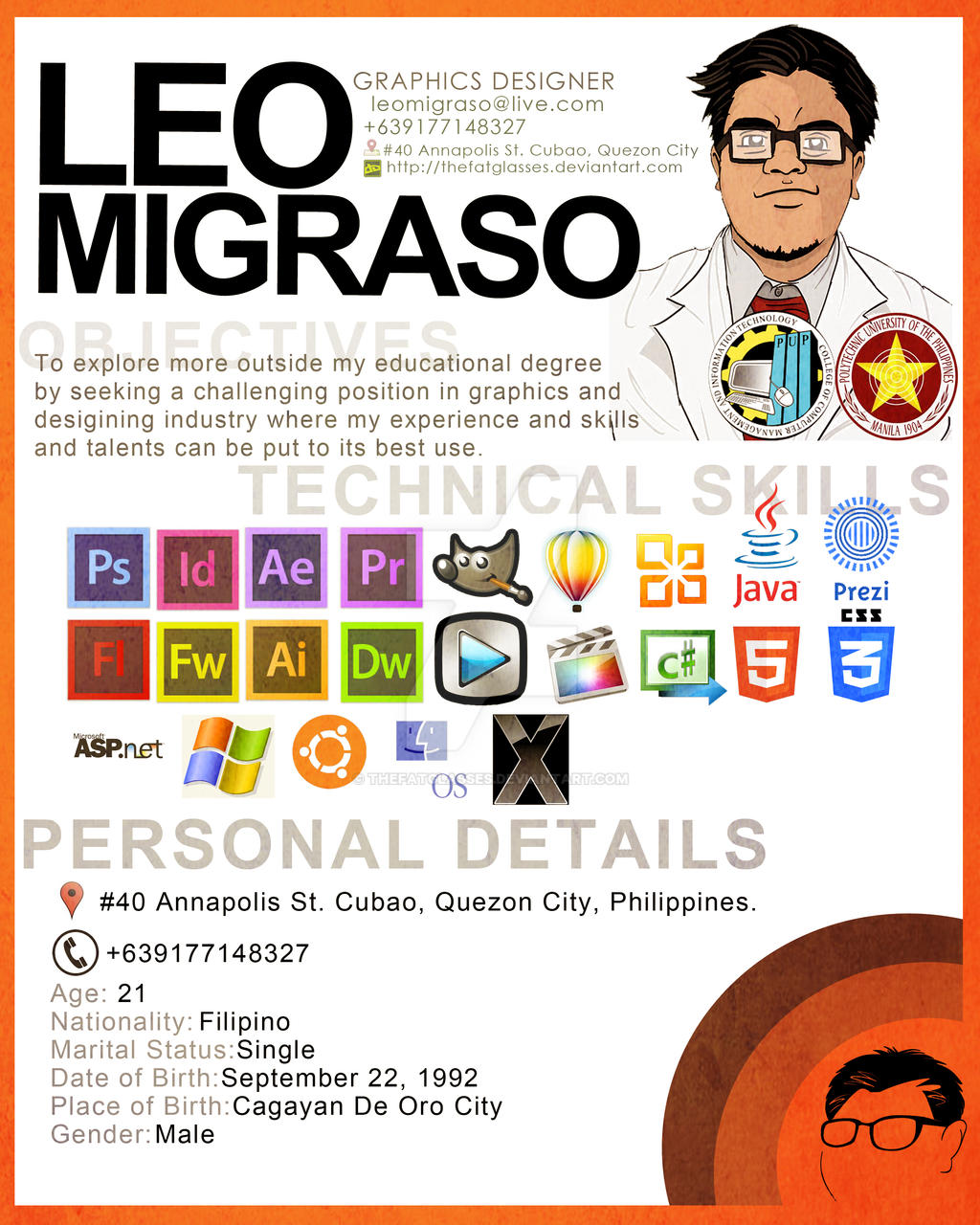 Thefatglasses 0 0 Graphic Artist Resume (Simple Lang) By Thefatglasses  Graphic Artist Resume