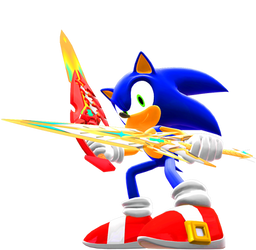 Sonic with Xenoblade2 Swords Render