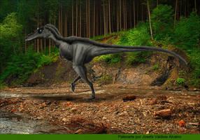 Qianzhousaurus sinensis in forest by JosefaValdiviaT-Rex