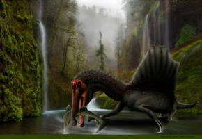 Spinosaurus Aegyptiacus cazando Orchopristis by JosefaValdiviaT-Rex
