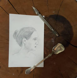 woman silverpoint draw by sandrof10
