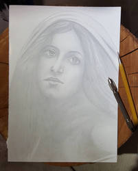 Madonna silverpoint draw A4 by sandrof10